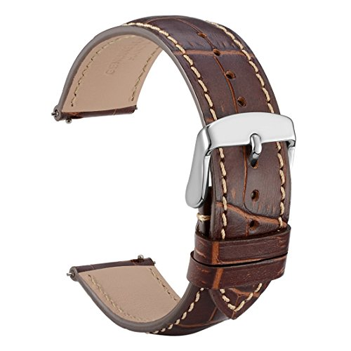 WOCCI 22mm Alligator Embossed Leather Watch Band - Quick Release Watch Strap (Brown with Contrasting ()