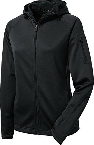 Sport-Tek Women's Tech Fleece Full Zip Hooded Jacket XL Black