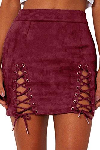 Almaree Woman's Sexy Cutout Lace Up High Waist Slim Fit Tight Mini Skirt Wine S