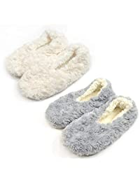 TeeHee Cozy Fuzzy Slipper with Non-Skid Bottom 2-Pack for Women