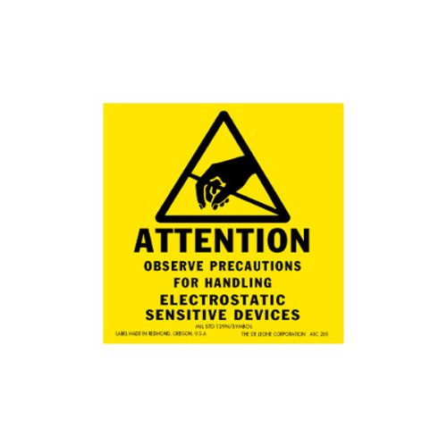 Static Warning Labels - Pratt DLASC205 Static Warning Label, Caution, 2