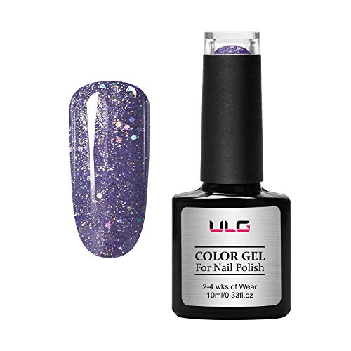Gel Nail Polish Glitter Color-ULG 10ml UV LED Soak Off Gel Polish Long Wear Nail Art Manicure Kit with Gift Box 0.33fl.oz