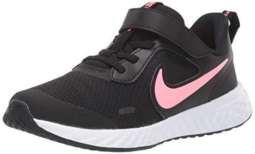 Nike Unisex Revolution 5 Pre School Velcro Running Shoe, Black/Sunset Pulse, 3Y Regular US Little Kid