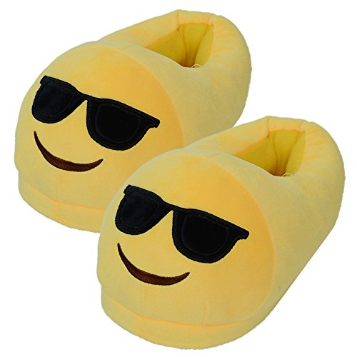 Emoji Slippers Thick 100% Plush Cotton That's Cute Funny Soft Warm And Comfortable Casual Indoor Bedroom Shoe For Men or Women Size 5- 9.5 With Non-Skid Footpads (Cool Sunglasses Dude)