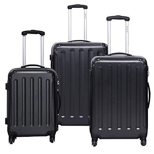 Case Black Hardside Luggage - Goplus 3 Pcs Luggage Set Hardside Travel Rolling Suitcase ABS Globalway (Black)