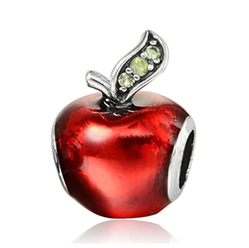 (J&M Red Enamel Apple with Green Crystals Charm Bead for Bracelets)