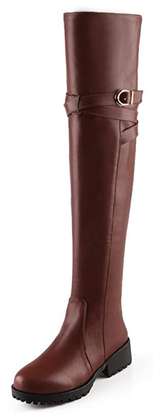 Sfnld Women's Trendy Round Toe Buckle Over the Knee Low Chunky Heel Riding Boots Brown