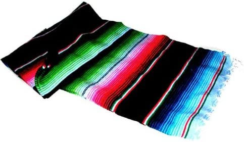 Large Authentic Mexican Saltillo Sarapes Throw Rugs Colorful Blanket Black/pink/blue