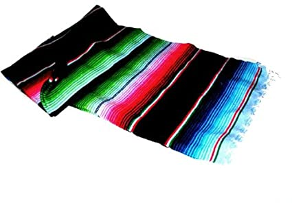 Large Authentic Mexican Saltillo Sarapes Throw Rugs Colorful Blanket  Black pink blue 3c1853323