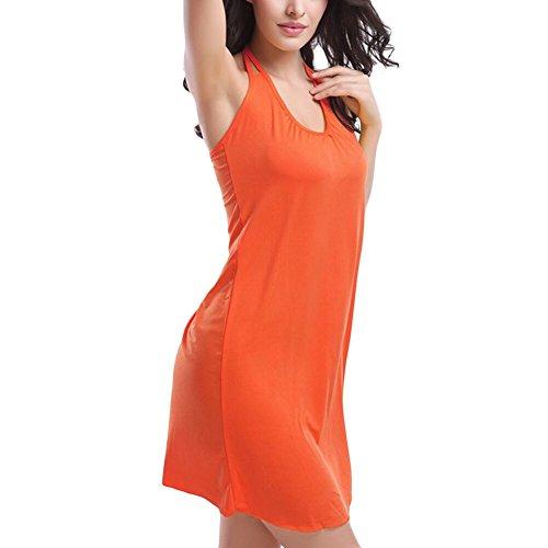 JIAJIA - Camisola - cuello hálter - Básico - Sin mangas - para mujer naranja