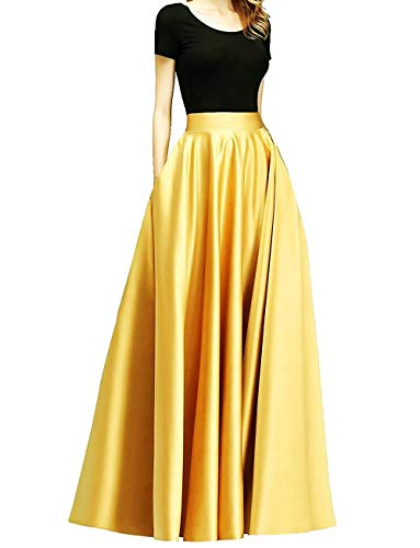 Diydress Women's Long Satin Maxi Skirt Floor Length High Waist Fomal Prom Party Skirts with Pockets Yellow Gold