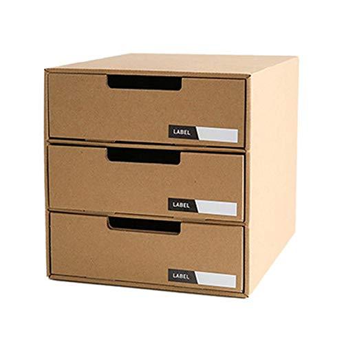 Wustrious DIY Desktop File Storage Box Kraft Paper Desktop Storage Box Drawer Type Office ()