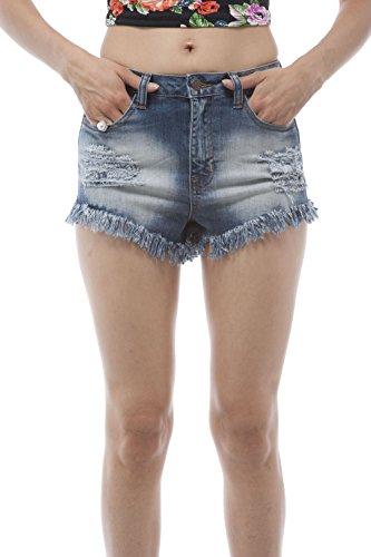 High waisted Jean frayed cut off distressed shorts (Medium, ()