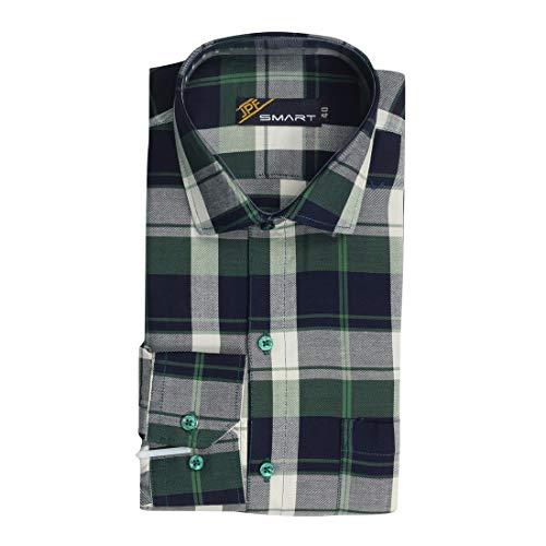 JPF Smart Men's Cotton Regular Fit Formal Shirt for Men Stylish – Casual Full Sleeves Shirt for Men/Cotton Checkered Short Sleeve Shirts for Men Green&Navy Checked Shirts boy