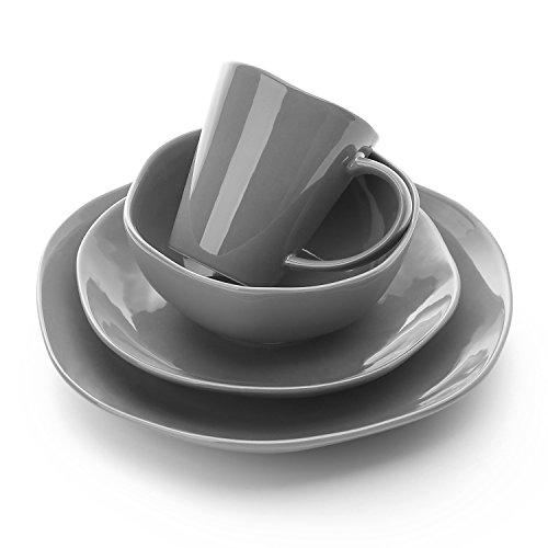 Le Tauci Single Dish Set 4 Piece Ceramic Dinnerware Set, Place Setting Service One Person, Steel Grey