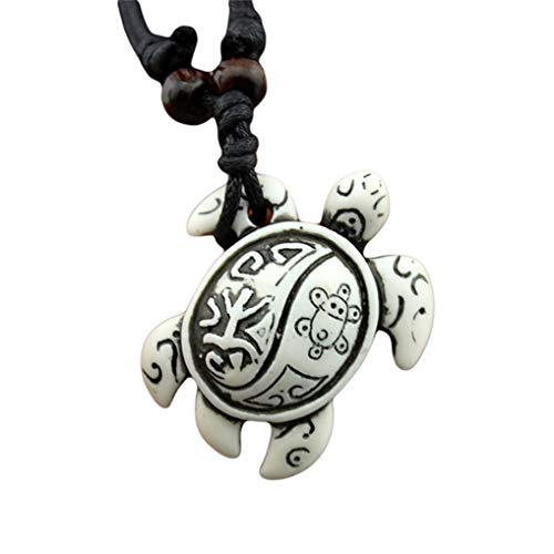 Eleusine Faux Yak Bone White Turtle Carved Left Arm Tie Rope Pendant Black Wax Cord Necklace Jewelry Adjustable White