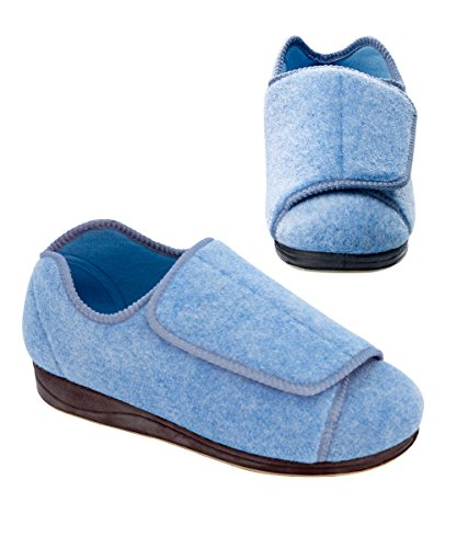 Womens Extra Extra Wide Width Adjustable Slippers - - Womans Shoes For Swollen Feet