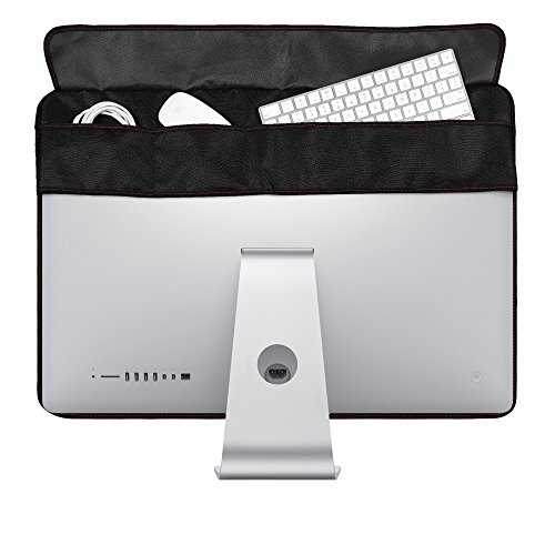 Lightning Power - PU Leather Protective Screen Dust Cover Sleeve with rear pocket for Apple IMAC 27 slim A1419 (27'' with pocket, Black PU Leather) by Lightning Power (Image #3)