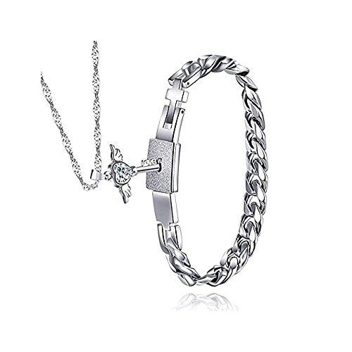 Meidiya Stainless Steel Bracelet and Angel's Heart Key Necklace Sterling Silver Set For Couple (Necklaces Bracelets)