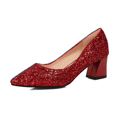 Zapato Tacón De Zapatos Cuadrado Zapatos Rojas De Plata 5 Tacón Alto Pinted De La Las Mujeres 5cm Cristal Tacón Mujeres De De De VIVIOO Lentejuelas Caída Alto Boda Nupcial heel Lentejuelas Toe qSaOF