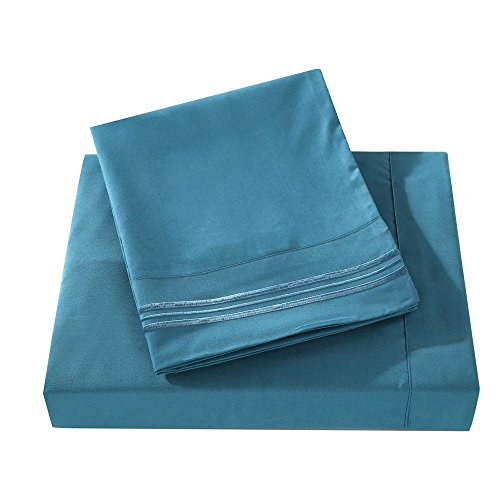 Do&Get Home Collection 3-Line Embroidery Bed Sheet Set, Double Heavy Brushed Microfiber, Deluxe Soft, Silky-Smooth Touch, Wrinkle Free,Fade Resistant,Deep Pocket (Queen, Blue Bonnet)
