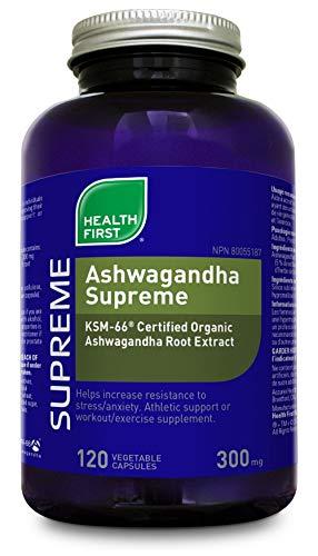 Health First - 60caps Ashwagandha Supreme KSM-66 Certified Organic  Ashwagandha Root Extract 300 mg