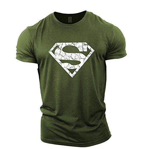 GYMTIER Mens Bodybuilding T-Shirt - Superman Vascular - Gym Training Top Green