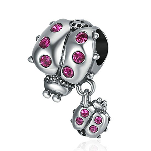 Ladybug with Dangling Smaller Ladybug 925 Sterling Silver Beads ,Crystals Charm Wing Feather Bead Insect Animal ,Family Birthday Christmas for European Charm Bracelets and Necklace Pendants (A)
