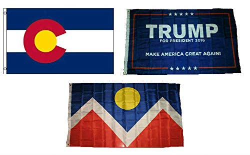 ALBATROS 3 ft x 5 ft Trump #1 with State of Colorado with City of Denver Set Flag for Home and Parades, Official Party, All Weather Indoors Outdoors