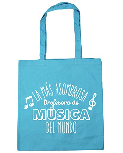 HippoWarehouse La más Asombrosa Profesora de Música del Mundo Bolso de Playa Bolsa Compra Con Asas para gimnasio 42cm x 38cm 10 litros capacidad Azul Celeste