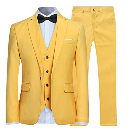 Mariage En Jaune Gilet Fit Cérémonie Pantalon Slim Veste Costume Homme Couleur Et Unie xITqRB1