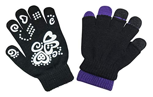 N'Ice Caps Girls Glow in the Dark Magic Stretch Winter Gloves 2 Pair Pack (Black Glows/Black Neon Purple, 2-5 Years)