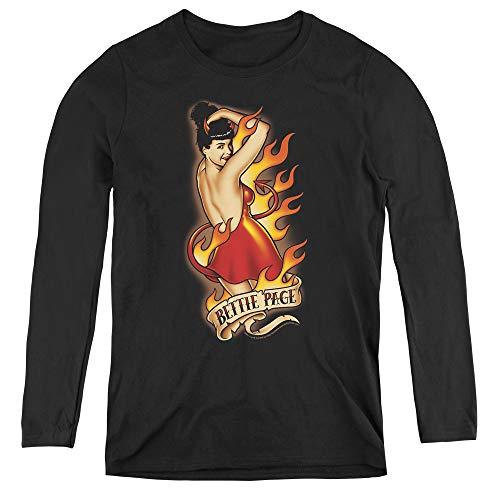 Bettie Page Devil Tattoo Adult Long Sleeve T-Shirt for Women, Large Black for $<!--$21.45-->