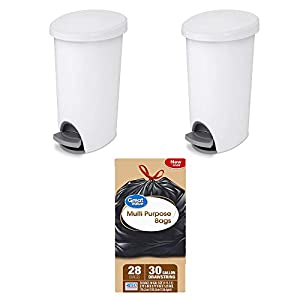 A.T. Products Corp. Sterilite, 2.6 Gal./9.8-L Ultra StepOn Wastebasket in White, Case of 2 Bundle with Great Value Multi-Purpose Drawstring Trash Bags 30-Gallon, 28 Count