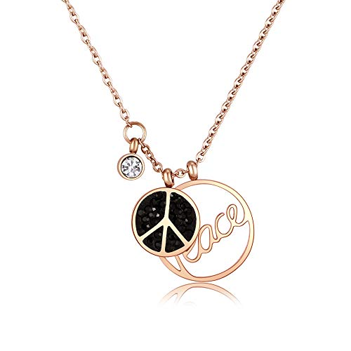 M&D Jewelry Rose Gold Peace Sign Necklace 18K Plated Rhinestone Pendant Necklace Gifts for Valentine Girl Friends Lovers Her Little Moments of Love ()