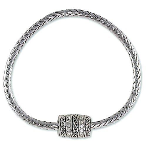 Bracelets Designer Lee (Aaron Lee Designs Antique Rhodium Plated Bracelet with one barrel with weave design and)