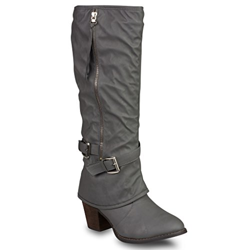 Twisted Women's Faux Leather Zip-Up Mid Heel Boots with Buckle Straps - GREY, Size - For Sale Motorcycles Wooden