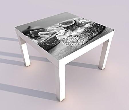 Diseño - Mesa con UV Impresión 55x55cm Negro Blanco Desayuno Jamón ...