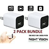 Spy Camera Charger White 2 PACK NIGHT VISION [2018 model] WRD - Hidden Spy Camera - Hidden Nanny Cam - Hidden Spy Cam - Hidden Camera Adapter - Mini Spy Camera 1080p - USB Charger Camera