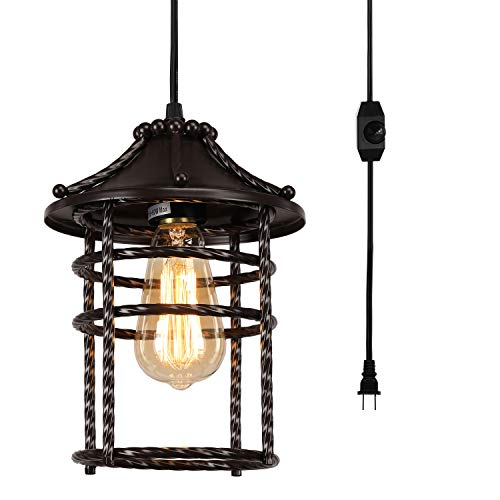 Vintage Swag Pendant Light with 16 Ft Plug in Cord and On/Off Dimmer Switch, Industrial Rustic Chandelier Oil Rubbed Bronze Hanging Ceiling Lamps for Gazebo, Porch or Nightstand