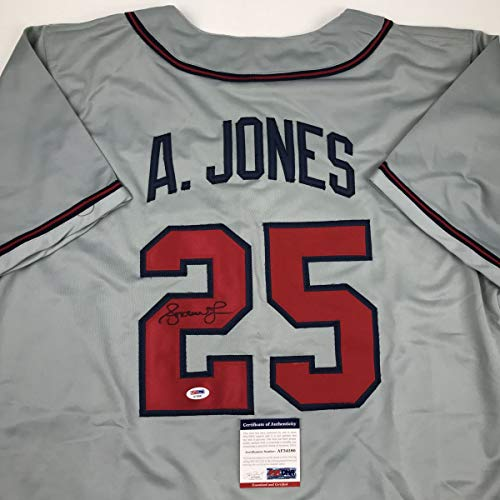 Autographed/Signed Andruw Jones Atlanta Grey Baseball Jersey PSA/DNA COA