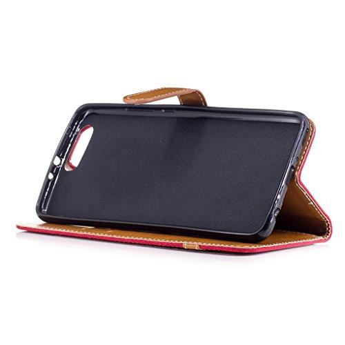 Trumpshop Smartphone Carcasa Funda Protección para Huawei P10 [Azul] Estilo Vaquero PU Cuero Caja Protector Billetera Choque Absorción Rojo