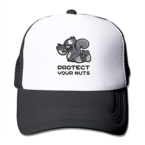 Good Wish Unisex Protect Your Nuts Trucker Cap Suitable for Indoor or Outdoor Activities Black