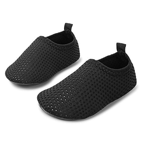 JIASUQI Summer Outdoor Sand Pool Walking Aqua Water Shoes for Baby Boys Girls Black Dot 18-24 Months