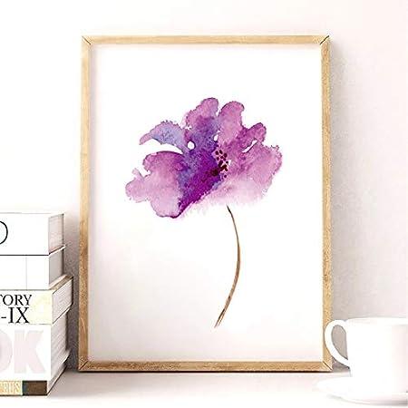 Cuadro Lienzo De Impresión Cartel De La Impresión Del Arte De La Lona De La Flor De La Lila Púrpura, Cuadro De La Pared De La Pintura De La Lona De La Flor De Lila De Acuarela Para Decoración Casera