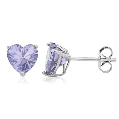 Sterling Silver Lavender Cubic Zirconia Heart Birthstone Earrings