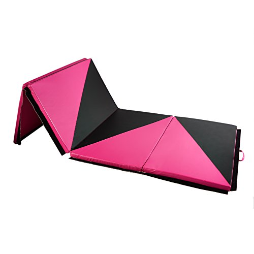 "DOIT Thick Folding Gymnastic Mat Surface PU Cortex with Handles and Zipper Home Fitness Equipment (rose red 3, 4'10'2"")"
