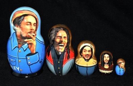 Bob Marley, 5 pc Matryoshka, Nesting Doll by Nesting dolls,Matrioshka doll