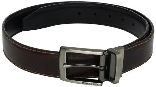U.S. Polo Assn. Men's Contrast Stitch Belt, Brown/Black, 34