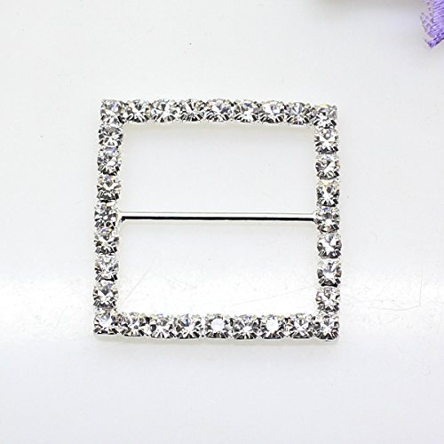 (16pcs 34mm x 34mm Silver Square Shaped Ribbon Rhinestone Buckle Slider for Wedding Invitation Letter)